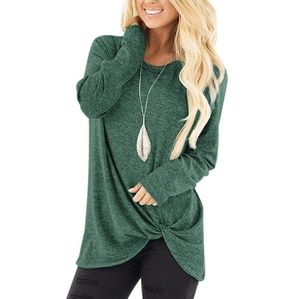 Green Knotted Front Long Sleeve Top